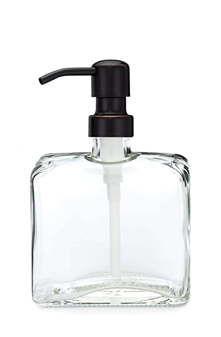 90c59ae26cc Image Unavailable. Image not available for. Color  Urban Square Recycled Glass  Soap Dispenser with Metal Pump (Farmhouse Bronze)