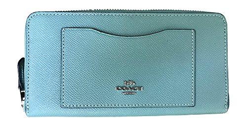 Coach Crossgrain Leather Accordian Zip Wallet, Aquamarine