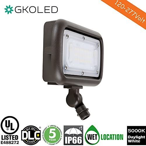 GKOLED 30W LED Floodlight, Outdoor Security Fixture, Waterproof, 100W PSMH Replace, 3000 Lumens, 5000K Daylight White, 70CRI, 1 2 Adjustable Knuckle Mount, UL-Listed DLC-Qualified, 5 Years Warranty