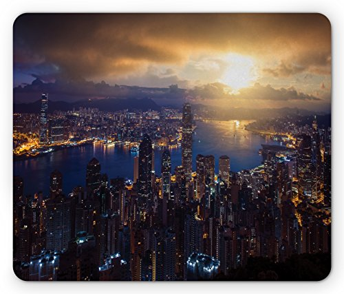 Urban Mouse Pad By Lunarable  Aerial Skyline Of Night Victoria Peak Hong Kong City Skyscrapers Metropolis Image  Standard Size Rectangle Non Slip Rubber Mousepad  Blue Golden