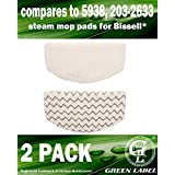 2 Pack for Bissell PowerFresh Steam Mop Pads (Washable). Compares to: 5938, 203-2633. Fits All PowerFresh 1940 Series, including 19402, 19404, 19408, 1940A, 1940Q, 1940T. Genuine Green Label Product.