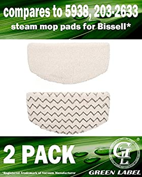 2-pack. For Bissell PowerFresh Steam Mop Pads (washable). OEM Part # 5938 & 203-2633. Fits All PowerFresh 1940 Series Models including 19402, 19404, 19408, 1940A, 1940Q, 1940T. By Green Label.