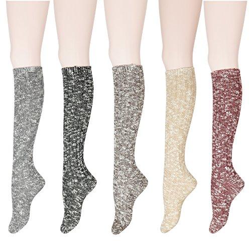 WOWFOOT Womens Knee High Wool Socks Soft Warm Thick Thermal Girl Winter Cushion Crew Quarter