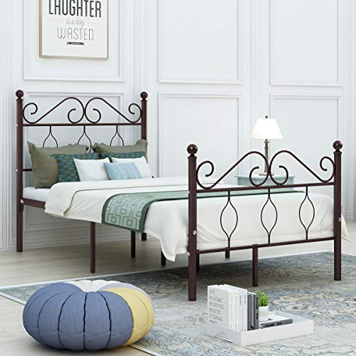 DUMEE Twin Size Metal Bed Frame Heavy Duty with Vintage Headboard and Footboard Platform Base Iron Easy Assembley Bronze
