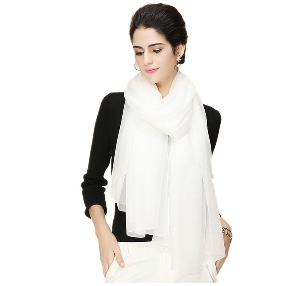 Las mujeres sólido blanco largo párrafo seda bufanda chal 4 seasons salvaje