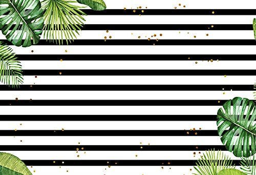 Green Stripe Background - MEHOFOTO Photography Backdrops Black and White Stripe Green leaves Gold Dots Birthday Party Photo Studio Background 7X5FT