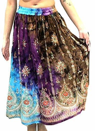 Sundress Maxi Summer Dance Skirt 18 Belly Boho Sequin Colorée Femmes Hippie Indian Gypsy Femme xq0g81wW