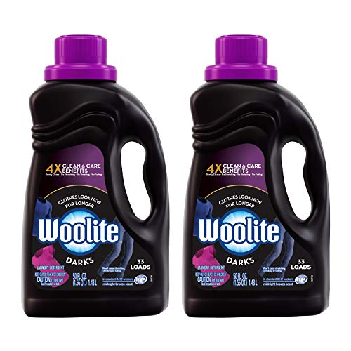 Woolite DARKS Liquid Laundry Detergent, 2x33 Loads, 2x50oz, Regular& HE Washer, Dark & Black Clothes & Jeans, midnight breeze scent, packaging may vary (Best Detergent For Black Clothes)