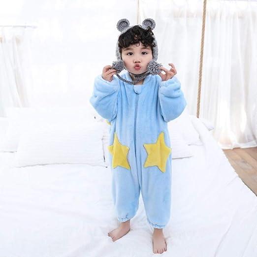 WTFYSYN Saco de Dormir para bebés, Saco de Dormir de Franela para niños, Pijama de una Pieza para bebé más Terciopelo Grueso @ Sky Blue_80cm: Amazon.es: Hogar