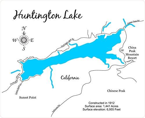 Huntington Lake, California: Standout Wood Map Wall Hanging ()