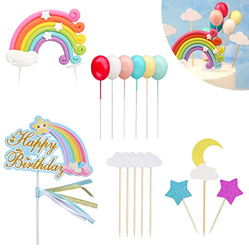 - Rainbow Birthday Cake Topper Happy Birthday Cake Decorations for Rainbow Theme Party Baby Shower Wedding Cupcake Toppers Picks Glitter Rainbow Balloon Cloud Star Moon