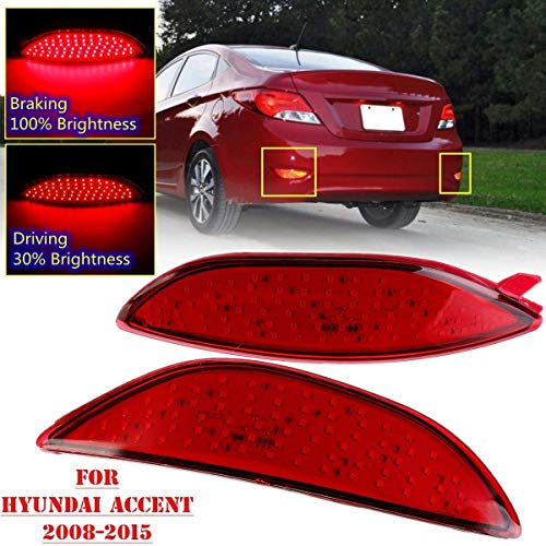 (Cacys-Store - Car Led Rear Reflector Brake Light Lamp For Hyundai Accent Sedan Verna 2008-2015 78LED Bumper Tail Light Drl Fog Lamp )