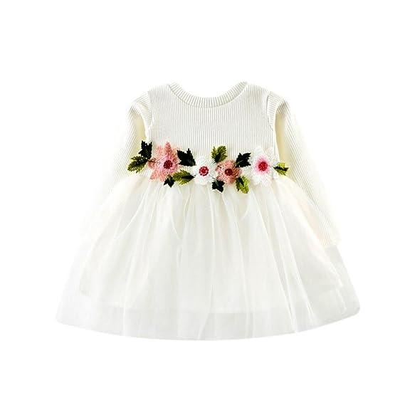 Vestidos Bautizo Bebé Niñas Flores Tutú Bodas Lenfesh Vestido De Princesa Manga larga Otoño Primavera Ropa