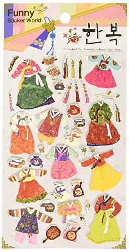 Funny Sticker World Decorative Fun Korean Traditional Clothes Stickers