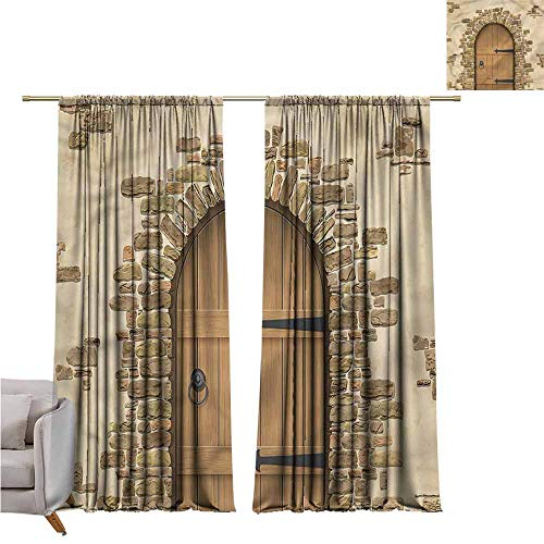 (zojihouse RusticKids Room Blackout Thermal Insulated Curtains, Wine Cellar Architecture W82xL72)