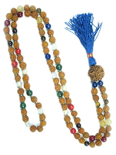 Yoga Mala Beads Meditation Japamala Rudraksha Navgraha Healing Malas - Remove Obstacles
