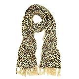 TrendsBlue Premium Elegant Leopard Animal Print Fringe Scarf - Diff Colors Avail