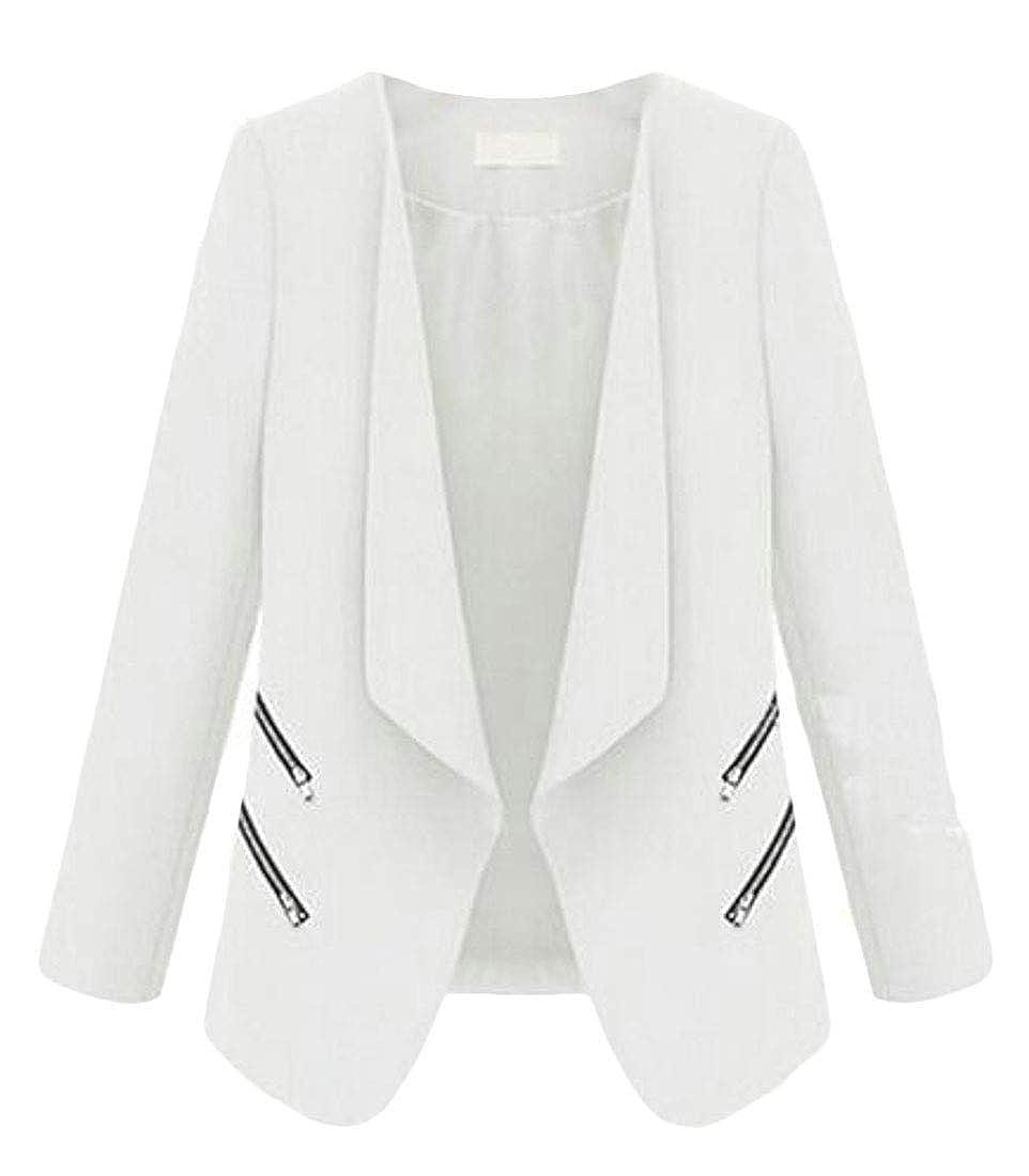 Fubotevic Womens Zipper Pockets Solid Open Front Work OL Blazer Jacket Suit Coat