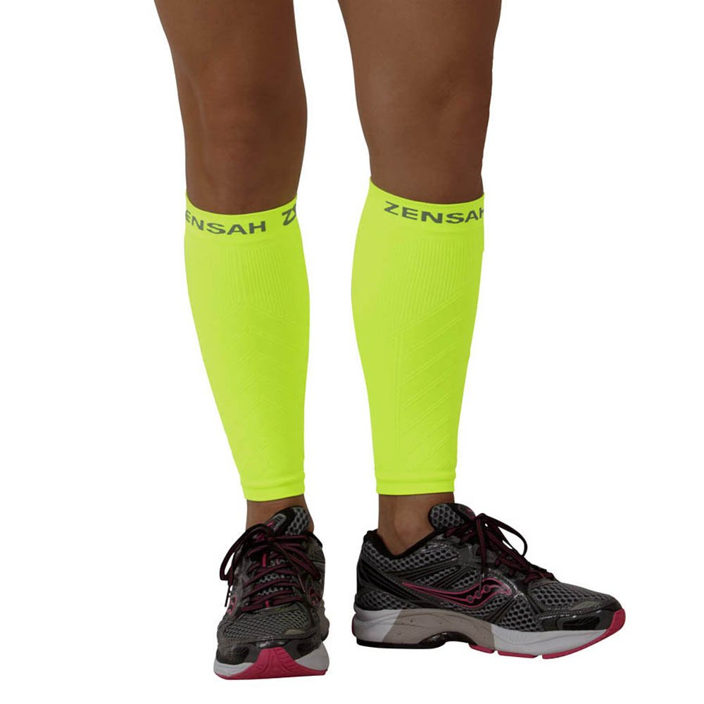 Zensah  Compression Leg Sleeves, Neon Yellow, X-Small/Small