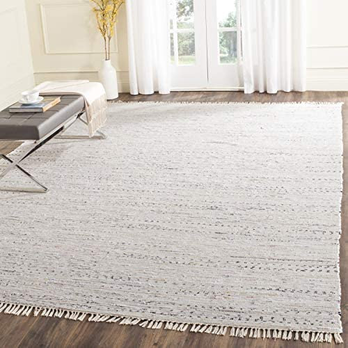 Safavieh Rag Rug Collection RAR121G Hand Woven White and Multi Cotton Area Rug 9' x 12'