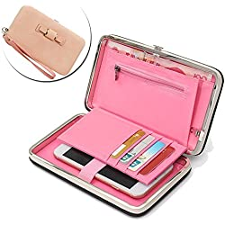 ZTE Blade Zmax Ladies Purse Wallet,Vandot [Large Capavity] of Hand Wrist Universal Women's Phone Bag Wallet Stylish Cell Phone Case with Passport Holder Credit Card Slots - Bow Tie Knot LIGHT PINK