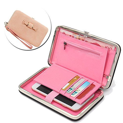 ZTE Blade Zmax Ladies Purse Wallet,Vandot [Large Capavity] of Hand Wrist Universal Women's Phone Bag Wallet Stylish Cell Phone Case with Passport Holder Credit Card Slots - Bow Tie Knot LIGHT PINK (M2 Blade)