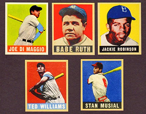 1949 Leaf Baseball Reprint (5) Card Lot With Original Backs** (Babe Ruth) (Joe DiMaggio) (Ted Wiliams) (Stan Musial) (Jackie Robinson Rookie Card) ()