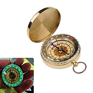 Classical Compass Outdoor Camping Hiking Portable Brass Compass Pocket Round Flip Compass Online Navigation Tool - Golden