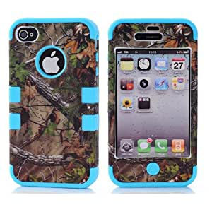 Canica 3in1 Straw Grass Mossy Camo Hybrid Cover Case Suitable Fit For iPhone 5 5S Blue