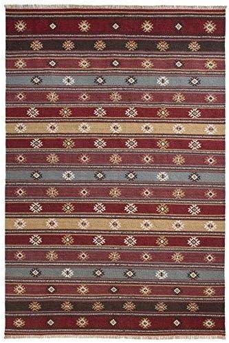 The Indian Arts Zanskar India Kilim Alfombra Gris Rojo Beige Colores 80% Lana 20% algodón 180 x 270 cm: Amazon.es: Hogar
