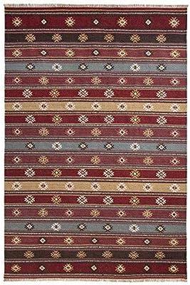 The Indian Arts Zanskar Indien Kilim Tapis Gris Rouge Beige Couleurs