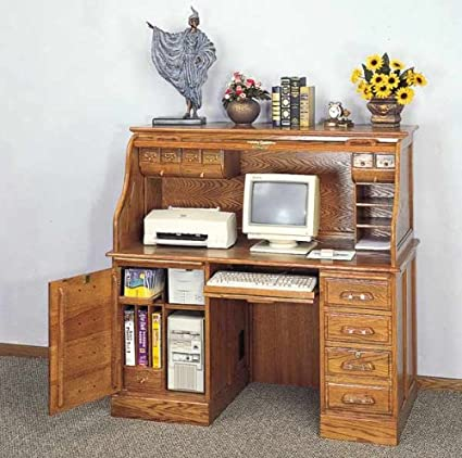 Amazoncom Deluxe Oak Roll Top Computer Desk Kitchen Dining