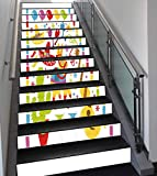 Stair Stickers Wall Stickers,13 PCS Self-adhesive,Fiesta,Mexican Party Pattern Cactus Sombrero Musical Items and a Pinata Ethnic Inspirations,Multicolor,Stair Riser Decal for Living Room, Hall, Kids R