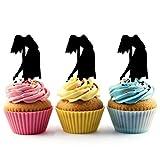 TA0012 Woman Dance Silhouette Party Wedding Birthday Acrylic Cupcake Toppers Decor 10 pcs
