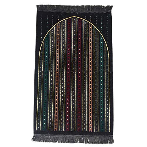 """(Al Arabia Muslim Prayer Rug - Made from Embossed Velvet - Features Stripes Design & Fringes On Both Sides - Portable Islamic Prayer Mat for Ramadan & Special Occasions, 44 x 27"""", Black)"""