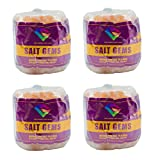 SALT GEMS 4 Pack Himalayan Animal Lick Salt - Natural Pure Pink Salt Block on a Rope for Horses, Deer, Goats, Cattle,Rabbits - 6.5~8 LB Each
