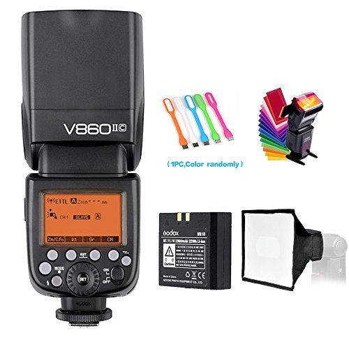Godox V860II-C E-TTL HSS 1/8000s 2.4G GN60 Li-ion Battery Camera Flash speedlite for Canon EOS cameras + HuiHuang USB LED Free gift by Godox