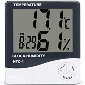 Konesky Indoor Digital Humidity Temperature Thermometer Hygrometer Meter Gauge with Large LCD Display Easy to Read Max/Min Records for Home Office Indoor Living
