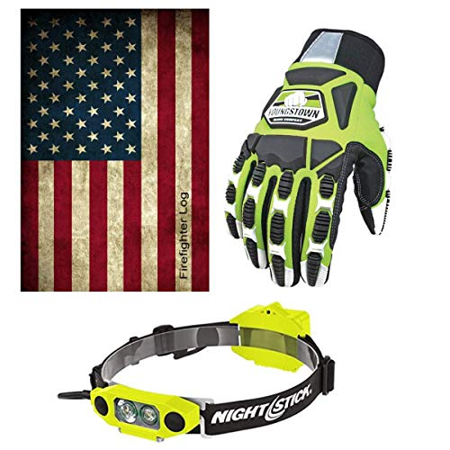 Tactical Flashlight Tools Firefighter Bundle - 1 Tactical Light Headlamp | 1 - Cut Resistant Extrication Gloves (Large). | 1 - Firefighter Journal (Track training hours, Run activities, work, ect.) -