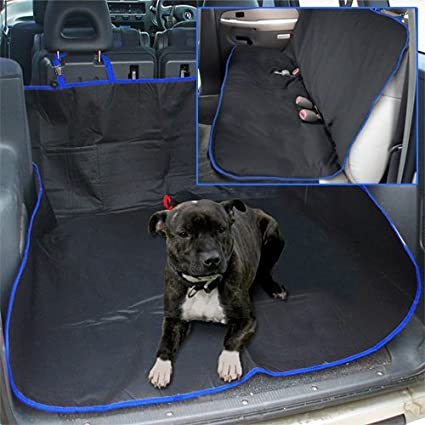 Tooltime RS01BLU Black and Blue Heavy Duty Waterproof 2-In-1 Rear Seat Cover Pet Protector and Car Boot Liner