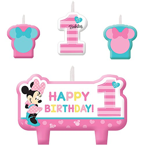 American Greetings Minnie Mouse 1st Birthday Candles, 4 Count, Party Supplies, Molded