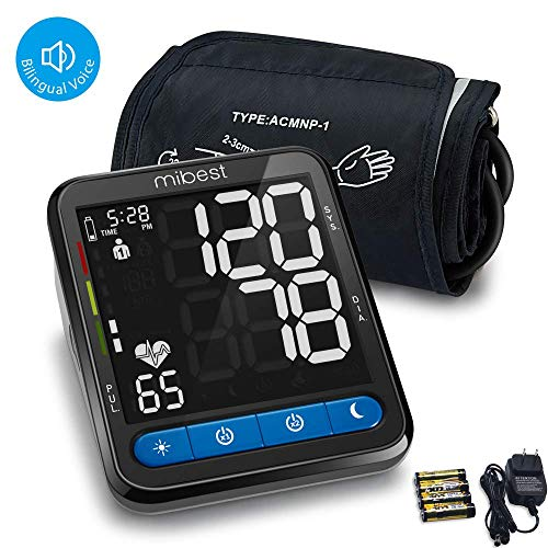 MIBEST Blood Pressure Monitor with Talking Function - Talking Blood Pressure Cuff with Large Display - 8.7-16.5' BP Monitor Machine - 240 Memory - Blood Pressure Kit with Batteries Adapter Included