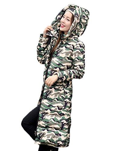 Camouflage Bigood Jacket Down Simple Hooded Warm Women's Long Parka b Green Coat aEExqZr