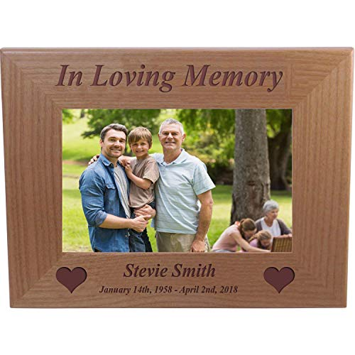 - CustomGiftsNow in Loving Memory Memorial - Engraved Alder Wood Picture Frame - Add Name and Dates (5x7 Horizontal)