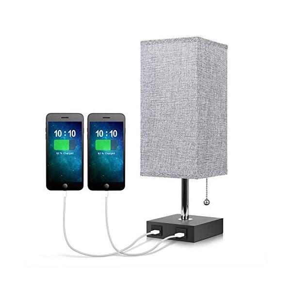 USB Bedside Table Lamp,Seealle Grey Modern Table & Desk Lamp