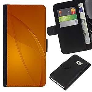 KingStore / Leather Etui en cuir / Samsung Galaxy S6 EDGE / Beige Amarillo Líneas abstractas