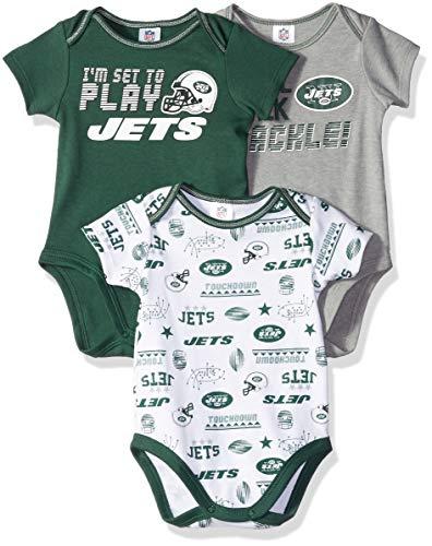 NFL New York Jets Unisex-Baby 3-Pack Short Sleeve Bodysuits, Green, 3-6 Months