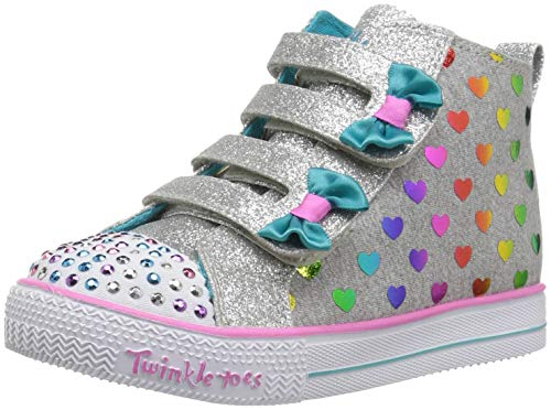 Skechers Kids Girls' Shuffle Lite-Fancy Flutters Sneaker, Gray/Multi, 9 Medium US Toddler