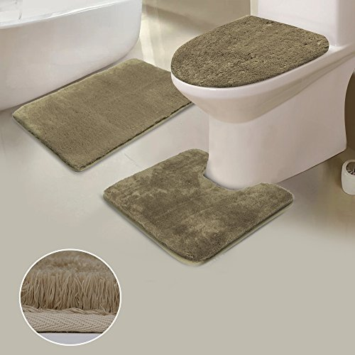 Shaggy 3-Piece Bath Rug Set, Uphome Non Slip Microfiber Soft Tub- Shower Mat Contour Rug Toilet Lid Tank Cover Combo Great Absorbency Machine Washable, Solid Warm Beige ()