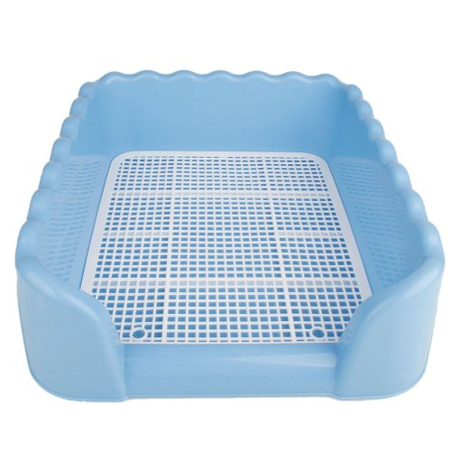 Pet Cat Puppy Dog Potty Pee Toilet Training Pad Holder Tray Litter Box with Fence Large Size L Blue Color (L, Blue) (New Puppy Litter)